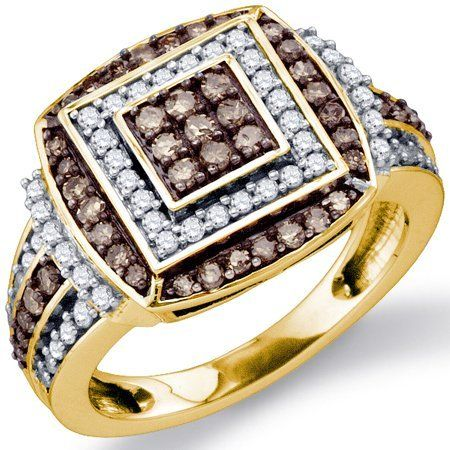 Chocolate Brown Diamond Ring Anniversary Cocktail Yellow Gold (1.00 ct.tw.) Jewel Roses. $854.00. *** Real, Natural Diamonds ***. *** 30-Day Money Back Guarantee ***. *** Free Standard Shipping ***. *** Product Included in Gift Box ***. *** Sold White Gold or Yellow Gold. Authenticated with Stamp ***