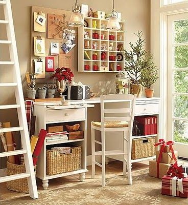 sewing room - would be cute as an office space too.  I like the tall desk.