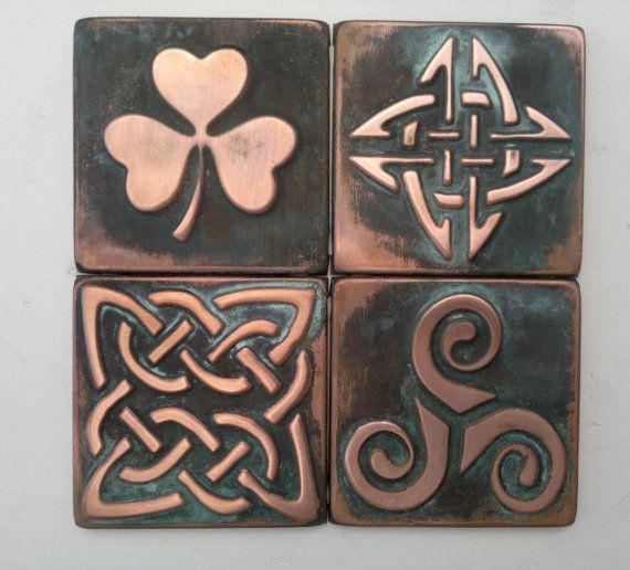 Celtic tiles, GREEN PATINA  Set of 4 copper celtic copper  tiles , celtic shamrock, triskel, celtic knot, copper decor, accent tile