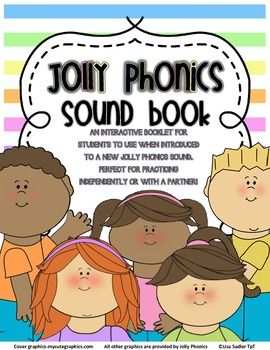 """Jolly Phonics Sound Book NO ACTION SYMBOL PICTURES - VERSION 1 AN INTERACTIVE BOOKLET FOR STUDENTS TO USE WHEN INTRODUCED TO A NEW JOLLY PHONICS SOUND. PERFECT FOR PRACTICING INDEPENDENTLY OR WITH A PARTNER! ALL 42 SOUNDS REPRESENTED AND PRESENTED IN THE OFFICIAL JOLLY PHONICS ORDER. All letter sounds come in BOTH primer print and D'Nealian. They are grouped in the 7 """"Jolly Phonics"""" sets."""