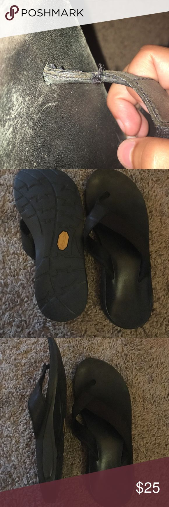 Chaco flip flops Brown chacos flip flops. Forgot I've had them. Small rip on the left sandal part Chacos Shoes Sandals
