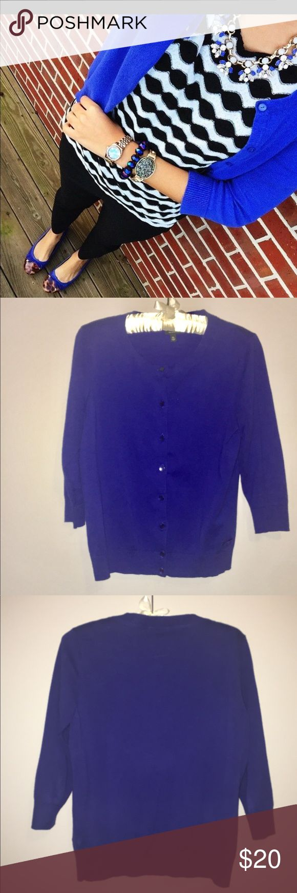 "Talbots Royal Blue 3/4 Sleeve Cardigan In like new condition beautiful blue Cardigan and matching shell. Pima cotton, nylon and spandex blend. Machine washable or dry clean. First photo for styling purposes only. Cardigan laying flat the bust is 18"" Shoulder to cuff 17"" total length 23"" ⭐️5 Star Seller ⏰Fast Shipper 💗Read my Reviews 💰Bundle to Save Talbots Sweaters Cardigans"