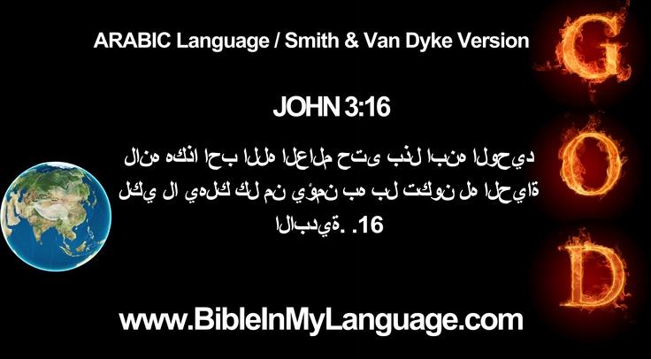 ARABIC Language / Smith & Van Dyke Version /  JOHN 3:16   لانه هكذا احب الله العالم حتى بذل ابنه الوحيد لكي لا يهلك كل من يؤمن به بل تكون له الحياة الابدية. .16 /  www.BibleInMyLanguage.com