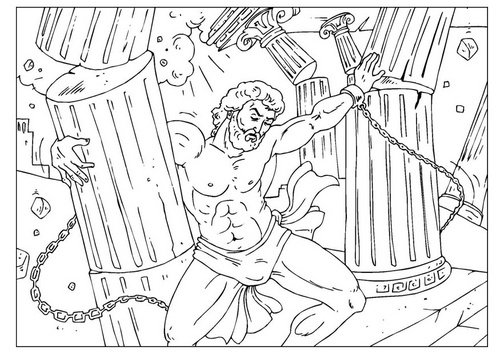 samson and the lion coloring pages - samson crushing the pillars bible coloring page http www
