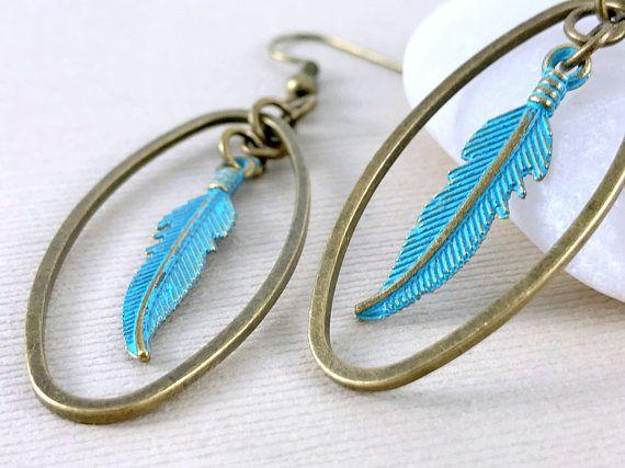 Long Feather Earrings Turquoise Earrings Boho Earrings Long