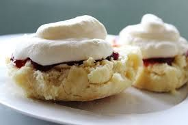lemonade scones with whipped cream and jam