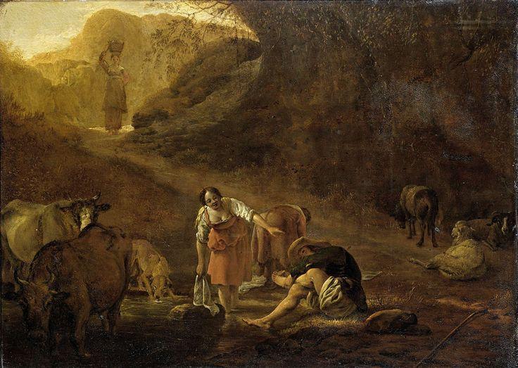 Pieter Bodding van Laer | A Shepherd and a Laundress at a Spring, Pieter Bodding van Laer, c. 1630 - c. 1637 | Een herder en wasvrouwen bij een bron. De man wast zijn voeten in het water, links koeien en een hond, rechts schapen. Boven komt een derde vrouw met een mand wasgoed op het hoofd aangelopen.