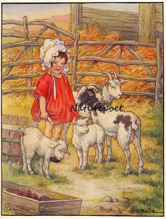 Farm Girl with Goats and Lambs   Is this not just too adorable and so retro - Love it