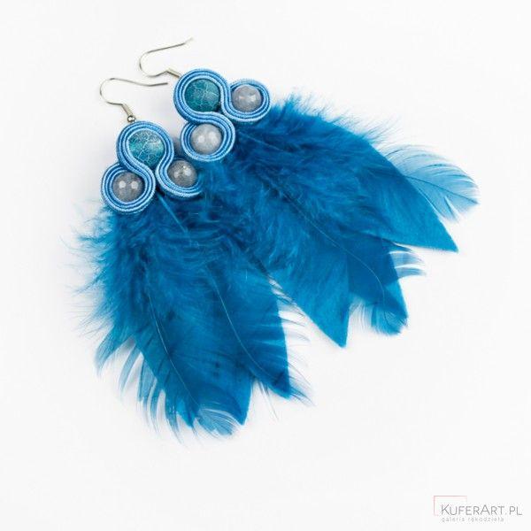 Kolczyki niebieskie etno boho długie wiszące - Kolczyki - Biżuteria artystyczna