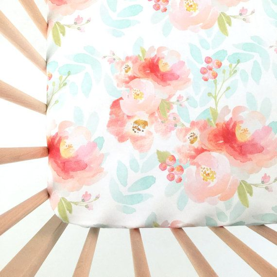crib sheet pink plush floral fitted crib sheet baby bedding crib bedding crib sheets floral crib sheet - Crib Sheets