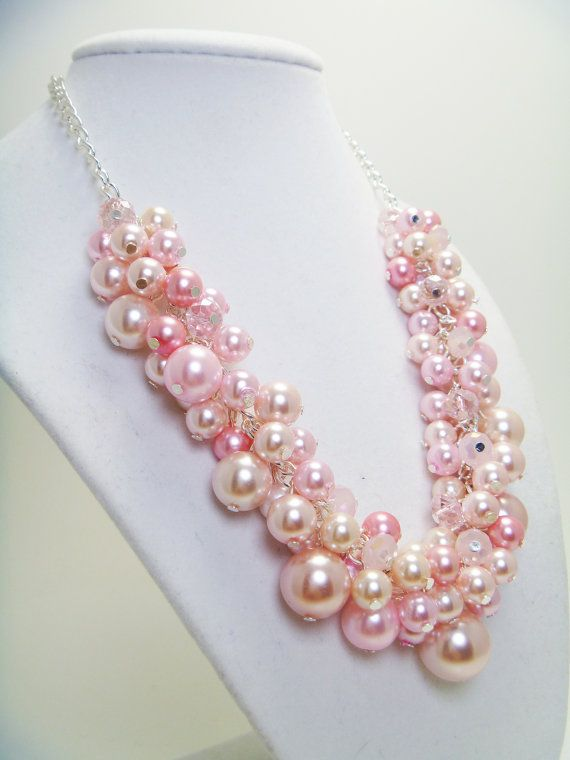 Pink Pearl Cluster Necklace with crystals for weddings by Eienblue Loved by http://www.shivohamyoga.nl/ #pink #love