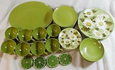 Vintage Lot 43 PC Set Oneida Dishes Melmac Melamine Green Daisy Dinnerware