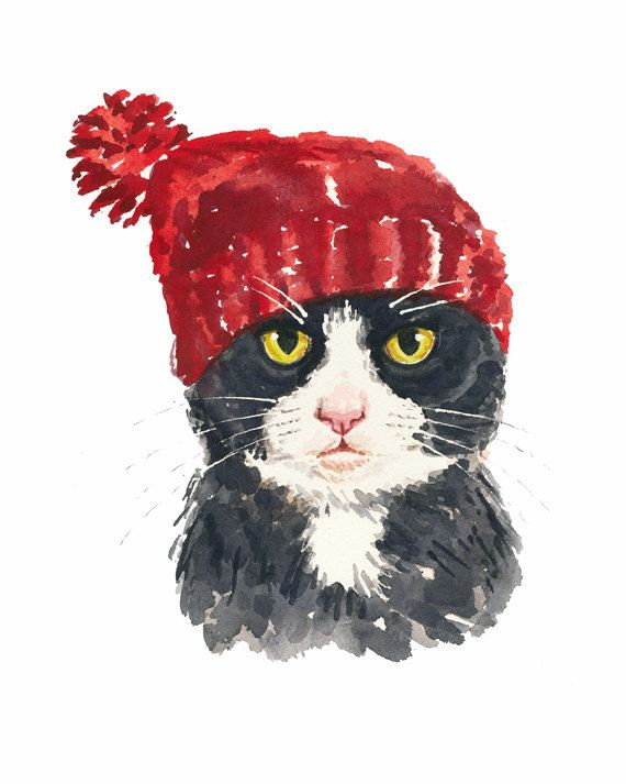 Tuxedo Cat Watercolor - 8x10 PRINT, Cat Illustration, Cat in a Hat, Black and White Cat, Nursery Art