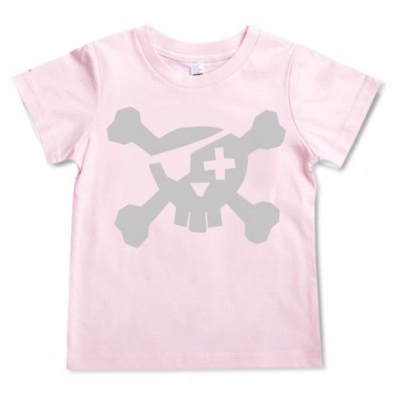 Freddy Alphabet Pirate Tee - Silver on Pink