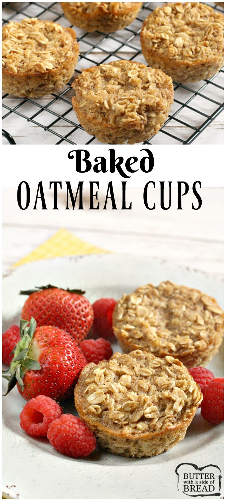 Baked Oatmeal Cups - an easy, delicious breakfast or snack perfect for anyone on the go! Easy, healthy recipe from Butter With a Side of Bread AD #InspiredGathering