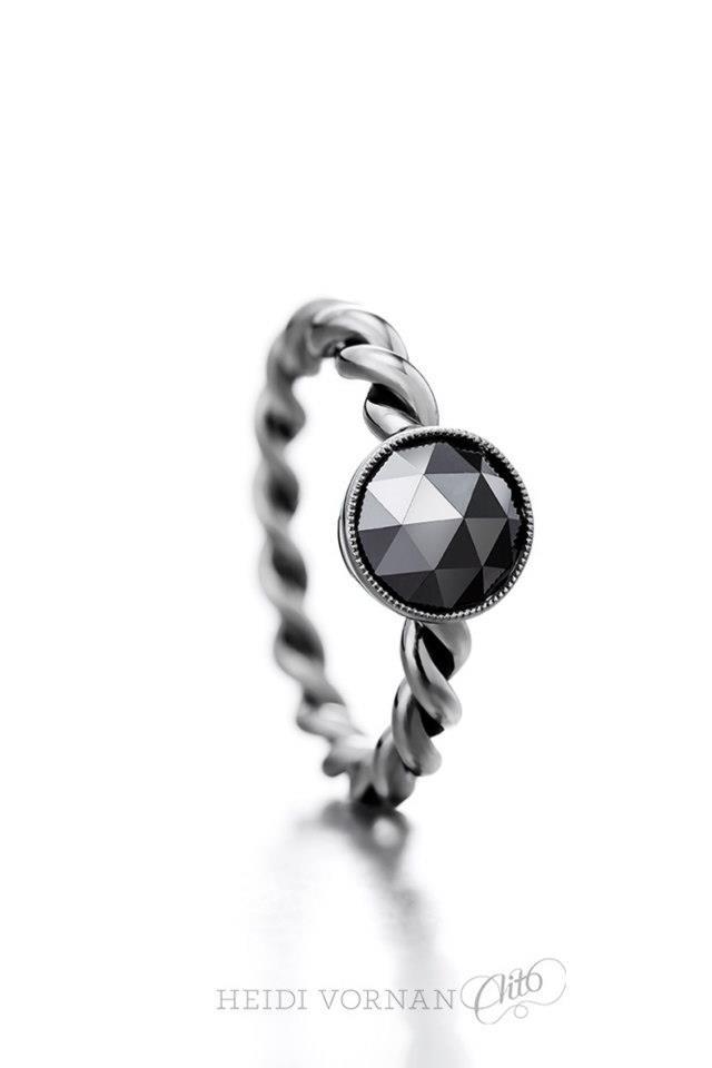 White gold ring with rosecut black diamond and black rhodium Design Heidi Vornan