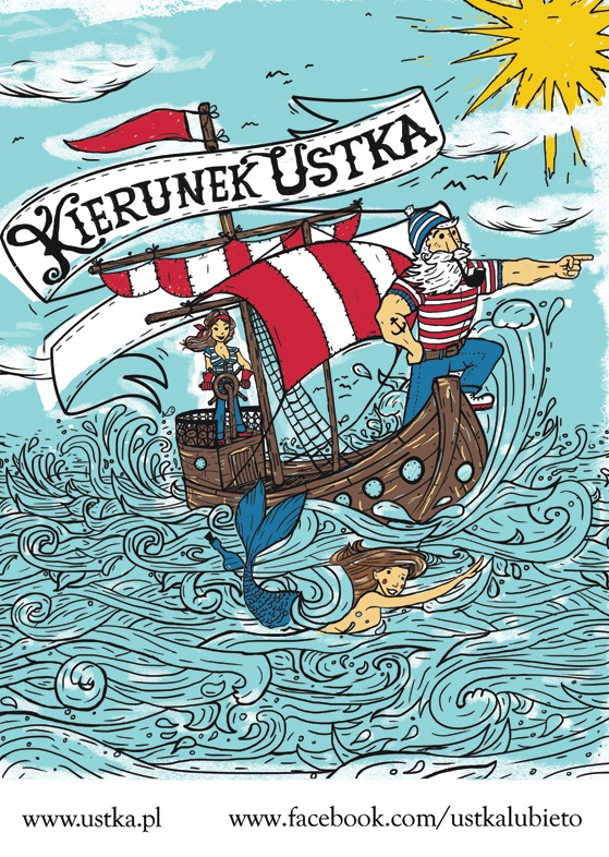 poster for Ustka - popular tourist destination by Baltic Sea.