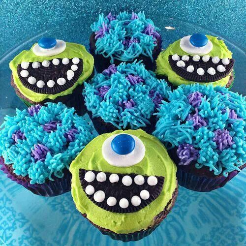 Monsters inc cupcakes easy, also doing colorful cake inside.