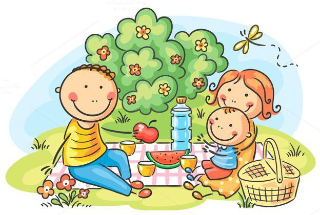 Cartoon family having picnic outdoor by Optimistic Kids Art on Creative Market