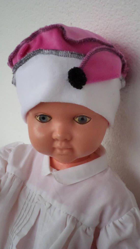 Hat beret Hat baby linen   eva jersey velvet white and fuchsia ... 1511a5b23bc