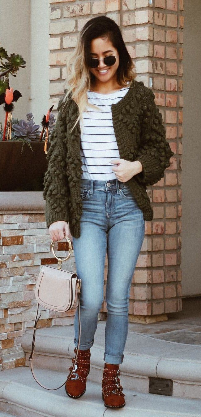 #winter #outfits women's blue jeans , white and black stripes shirt, and green cardigan. Click To Shop This Look.