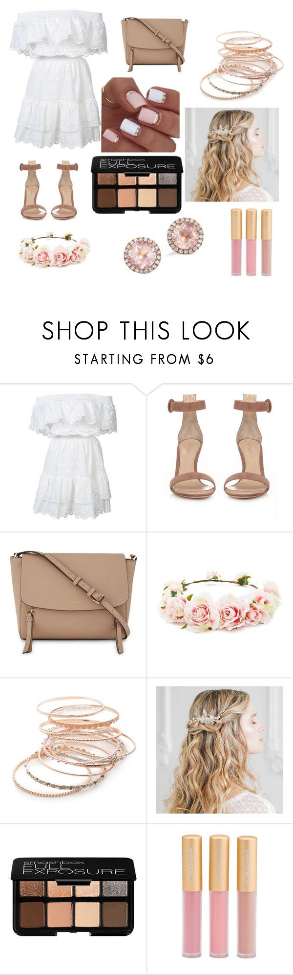 """#Пляжная_вечеринка"" by ivaskweek ❤ liked on Polyvore featuring LoveShackFancy, Gianvito Rossi, DKNY, Forever 21, Red Camel, Smashbox and Dana Rebecca Designs"
