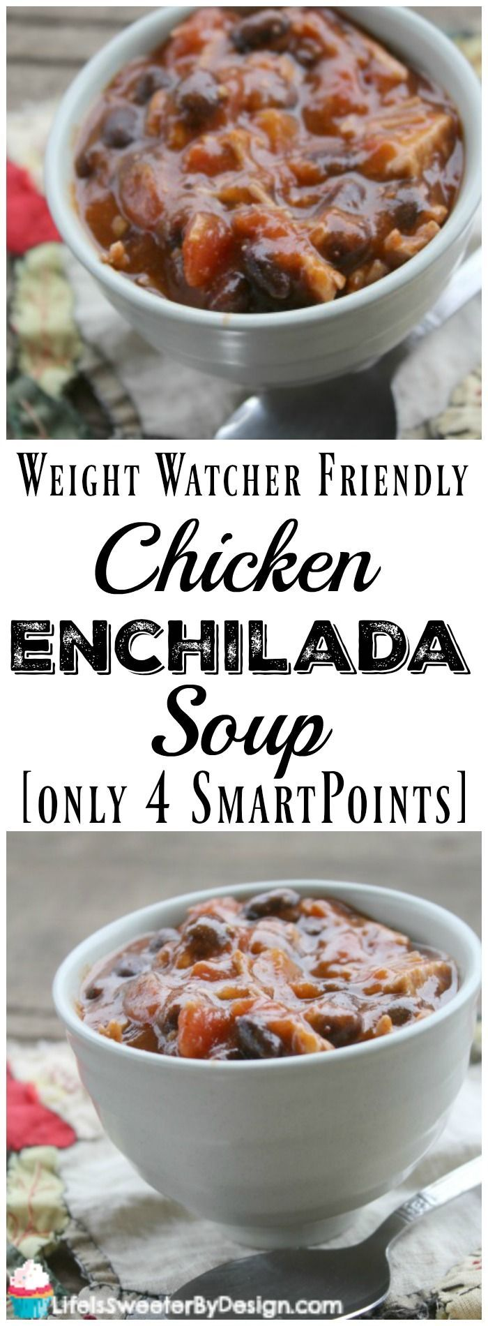 Weight Watcher Friendly Chicken Enchilada Soup is only 4 SmartPoints per serving. This is a hearty soup and is perfect for people on the Weight Watchers Beyond the Scale program!