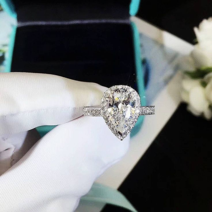 Excited to share the latest addition to my #etsy shop: 3 Ct Pear Cut Engagement Ring, Promise Ring, Wedding Ring, Man Made Diamond, anniversary gift for her with gift box - made to order http://etsy.me/2hSf0TA #jewelry #ring #silver #diamond #engagementring #pearcut #christmas