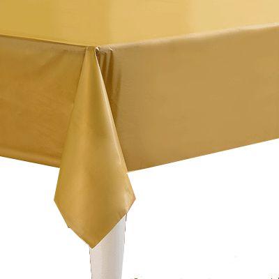 Tafelkleed goud 274 x 137 cm. Een goud gekleurd tafellaken voor uw feestelijke tafel! Deze goud kleurige tafelkleden zijn gemaakt van papier. Aan de onderzijde is deze met plastic bekleed. Het formaat is ongeveer 274 x 137 cm. Met onze goud gekleurde bekers en bestek maakt u uw vrolijke tafel helemaal compleet!