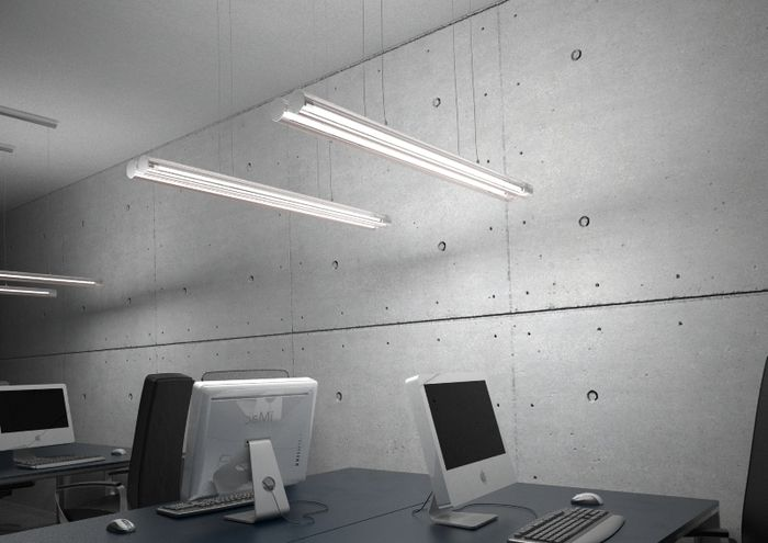 RIVIER II PENDANT | rendl light studio | Pendant for two T5 fluorescent tubes of glass and with chrome details. #lighting #pendant #office