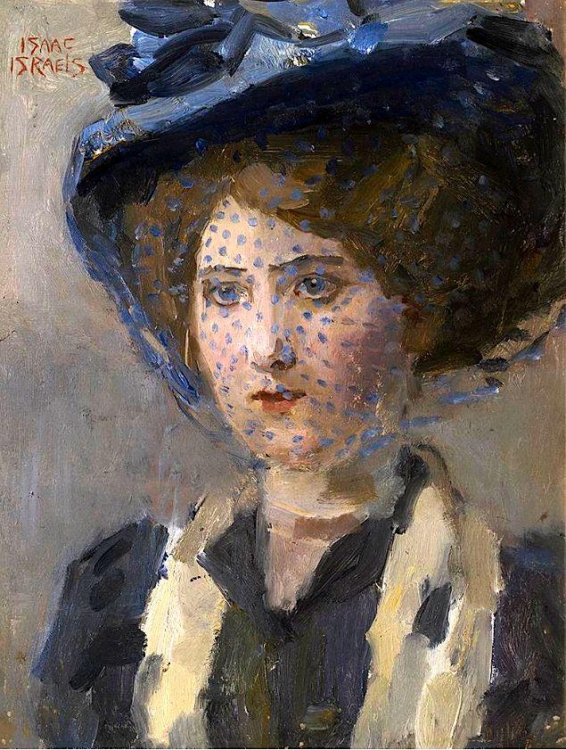 Isaac Israels - Portret van een jonge vrouw met voile