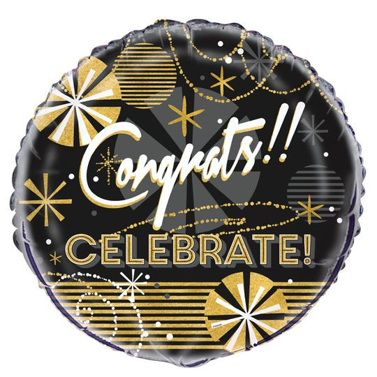 Foil Jazzy Black And Gold Congratulations Balloon, 18""