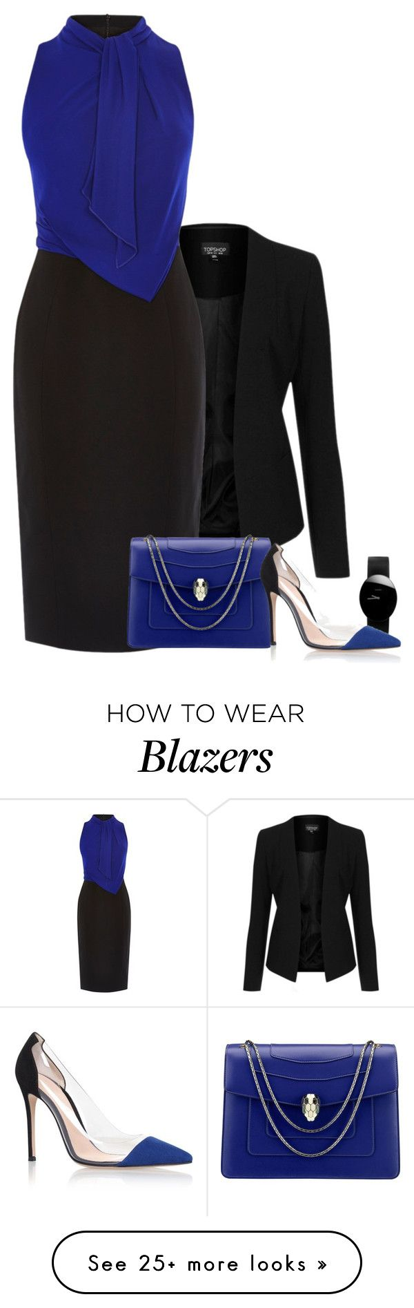 """Untitled #945"" by mrseclipse on Polyvore featuring Topshop, Karen Millen, Bulgari, Rado and Gianvito Rossi"