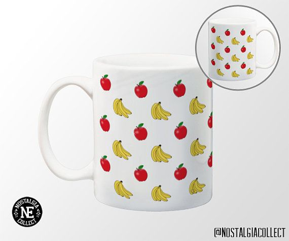Apples and Bananas Pattern Coffee Mug  11 oz by NostalgiaCollect
