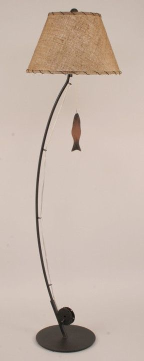 Iron Fly Fishing Pole Floor Lamp - JHE's Log Furniture Place