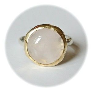 Handmade Ring 14k gold/silver with rosequartz (Rings gemstone) Handgemaakte Ring 14k goud/zilver met rozenkwarts (Ringen edelsteen) www.tantetaat.nl