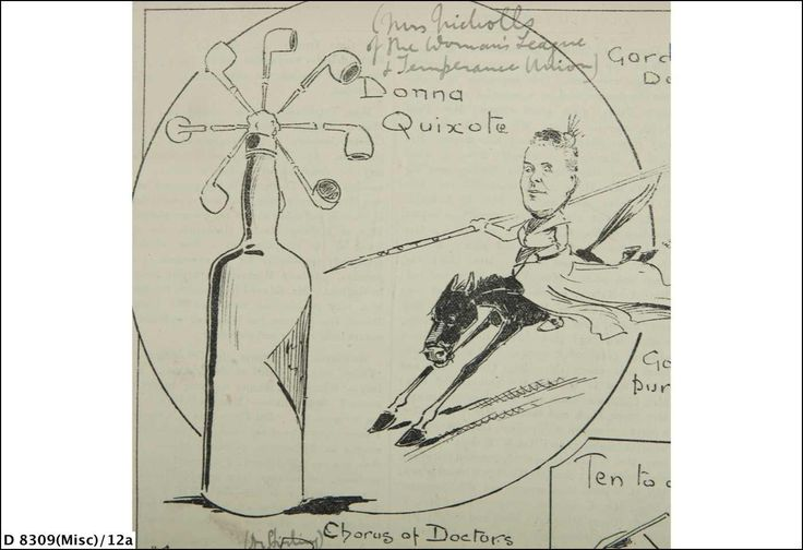 This image depicts Elizabeth Webb Nicholls, then President of the Woman's Christian Temperance Union of South Australia (WCTU). Mrs Nicholls is shown 'tilting at windmills', a phrase taken from the novel Don Quixote in which the titular character begins fighting windmills he imagines to be giants. The cartoon therefore shows Mrs Nicholls fighting what the cartoonist sees as the false enemies or 'windmills' of tobacco and alcohol. State Library of South Australia D 8309 (Misc) 12A