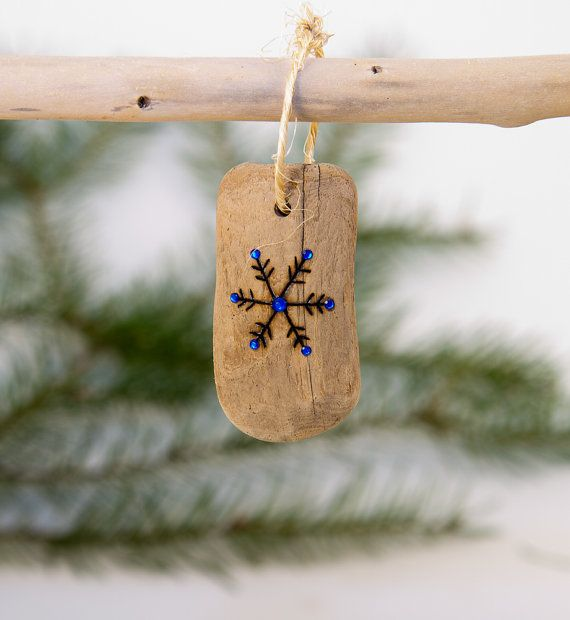 Driftwood Bling Christmas Ornament Wood Burned by OnceUponAShore