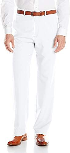 Haggar Mens Cool 18 Expandable Waist Straight Fit Plain Front Solid Pant