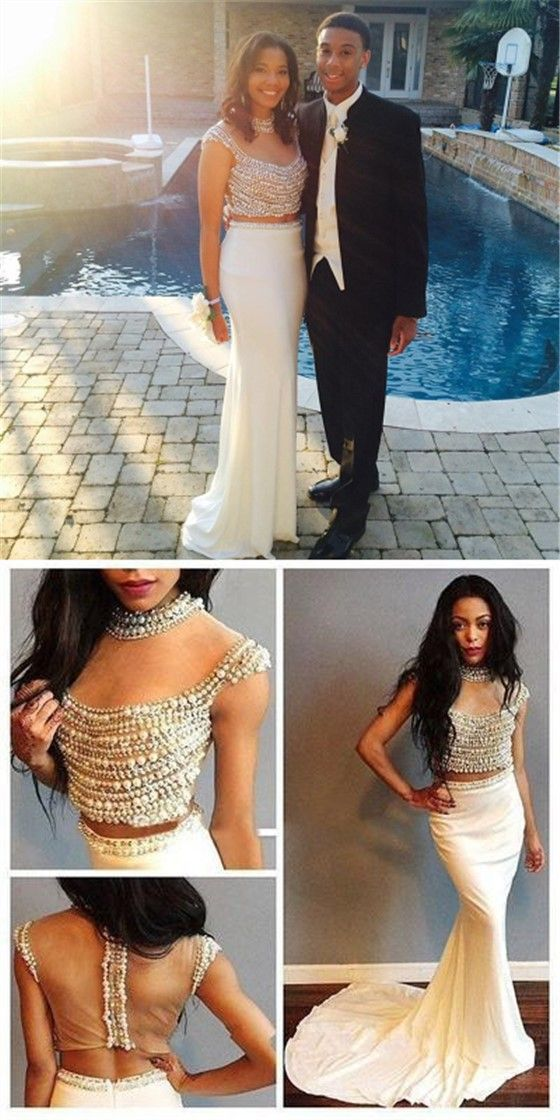 2 Pieces Pearl See Through Top White Jersey Prom Dresses, Popular Prom Dresses #sofitbridal #2pieces #promdresses #mermaid #pearl