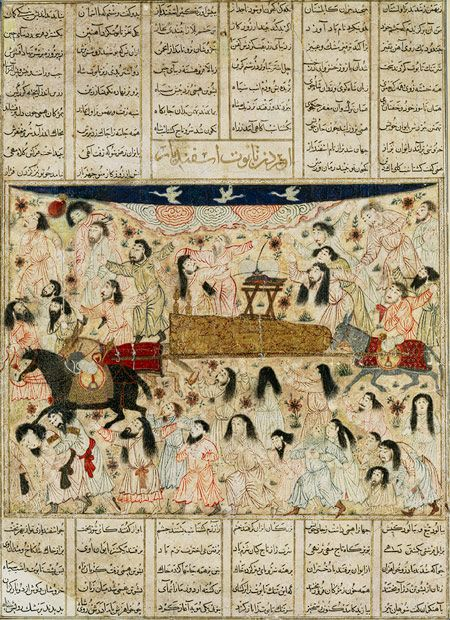 Isfandiyar's Funeral Procession: From the Great Mongol Shahnama (Book of Kings), 1330s Iran, probably Tabriz Ink, colors, and gold on paper 8 5/8 x 11 3/8 in. (22 x 29 cm) Purchase, Joseph Pulitzer Bequest, 1933 (33.70)