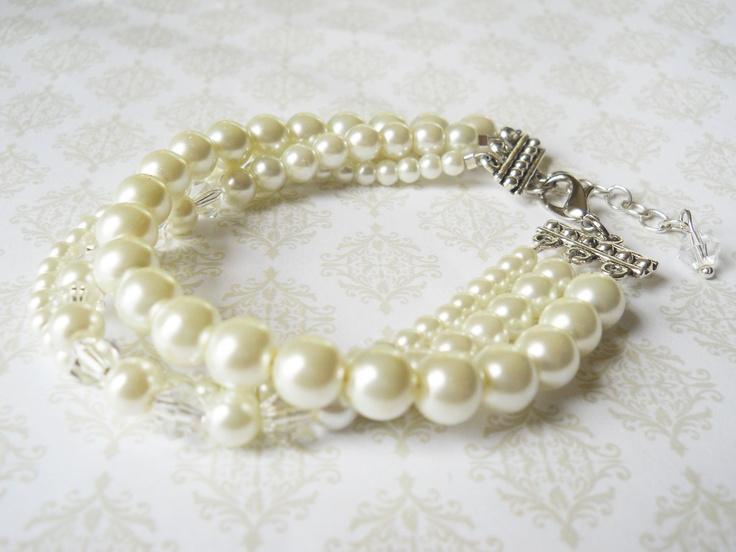 Multi Strand Pearl Bracelet, Cream Pearl Bracelet, Bridal Pearl Bracelet.