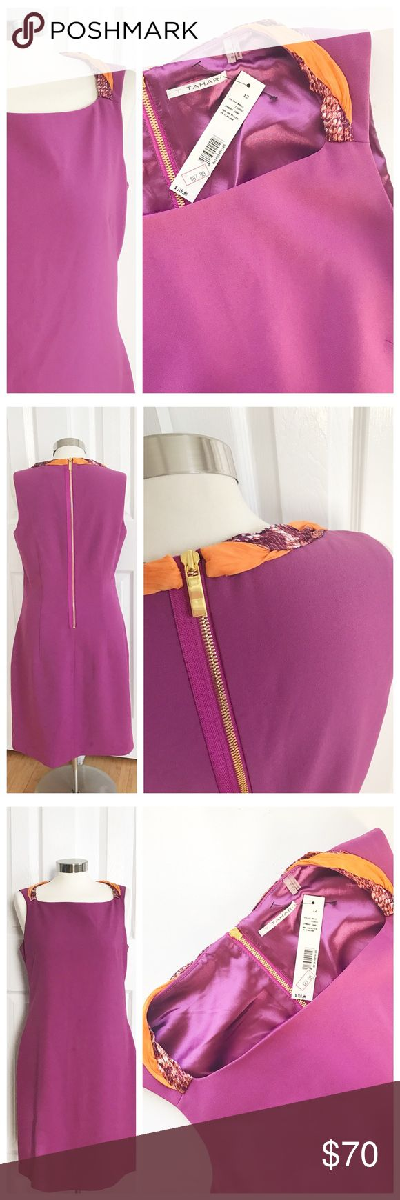 NWT Tahari Sheath Dress Sheath sleeveless dress with orange white and purple acc…
