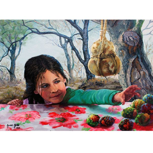 La Niña de las Pitayas oil painting, Now Available in our on-line gallery