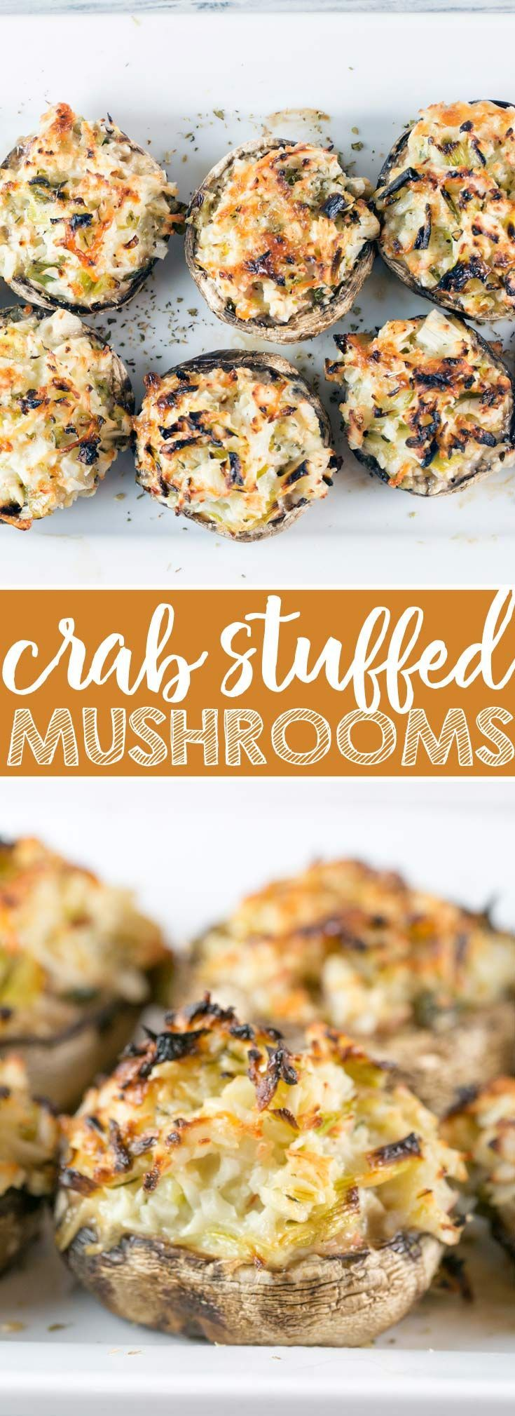 Crab Stuffed Mushrooms: perfect on the grill or baked in the oven, these make-ahead crab stuffed mushrooms are a perfect side or appetizer for your next party.  No breadcrumb filler means they're gluten free, too! {Bunsen Burner Bakery} via @bnsnbrnrbakery