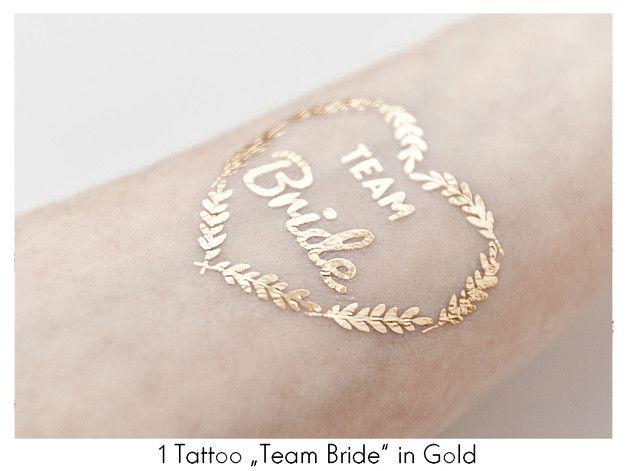 "Tattoo 1x ""Team Bride"" Herz Gold JGA Metallic - Oh-Bracelet-Berlin - Akcesoria"