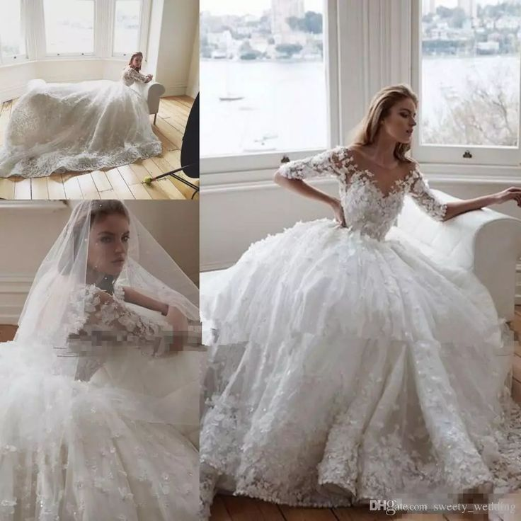 steven khalil 2017 3d floral cathedral train princess ball gown wedding dresses with sleeve sheer neck garden arabic dubai wedding gowns