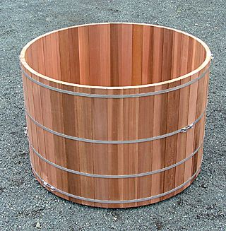 Western Red Cedar four hoop hot tub handcrafted by Forest Lumber Cooperage Ltd.