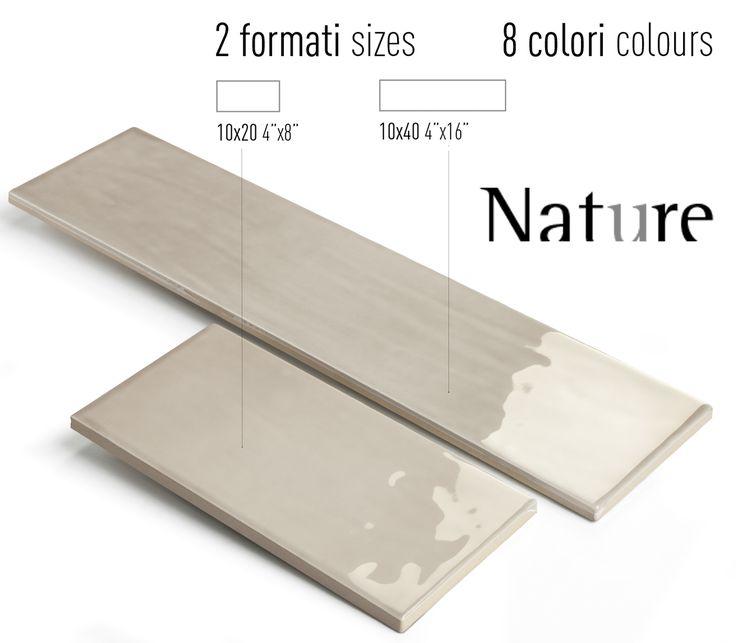 Nature40 è una collezione che si sviluppa in 7 colori ispirati alla contemporaneità metropolitana. Qui nelcolore Greige e nel formato 10x40. Due formati rettangolari, 10x20 e 10x40 con superficie lucida e strutturata, che possono essere combinati tra loro consentendo un'infinita proposta di pose