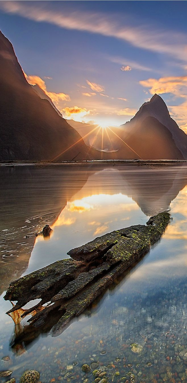 Milford Wild Sunset - Fiordland, Milford Sound, South Island, New Zealand
